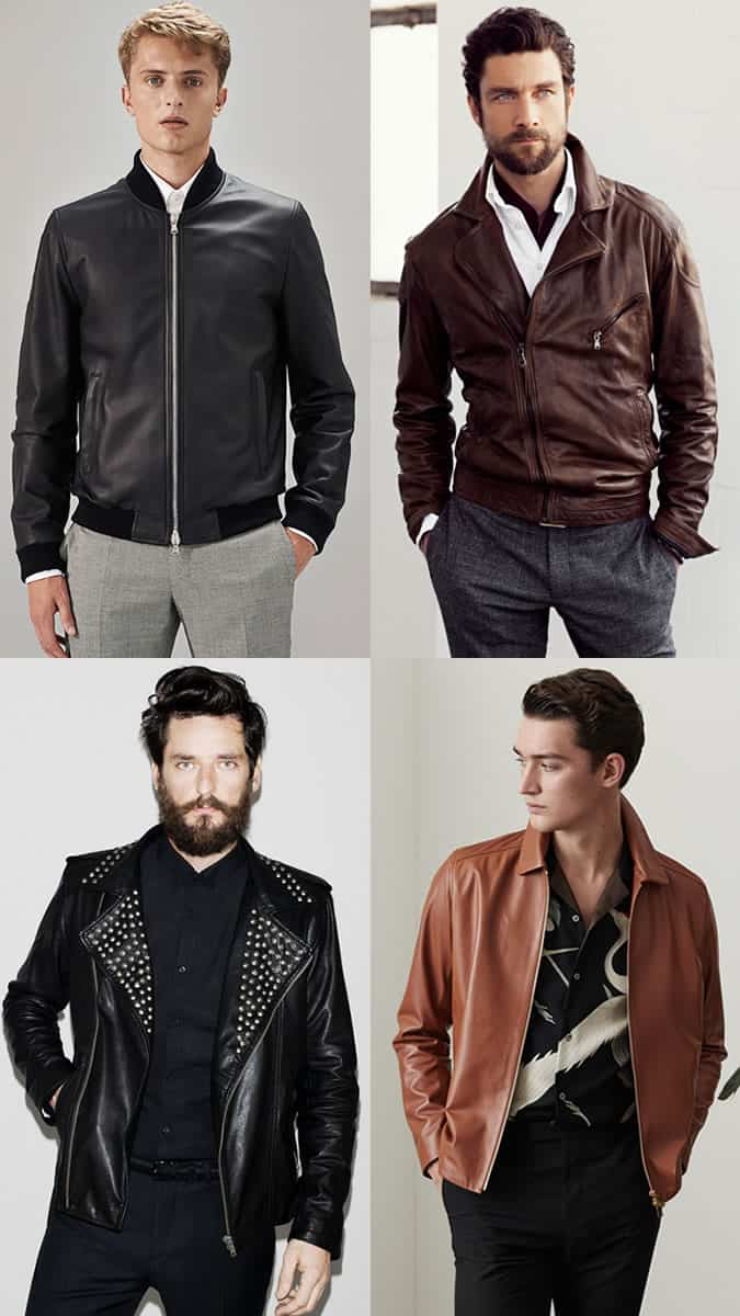 Men's Leather Jacket, Casual Shirt and Trousers Outfit Inspiration Lookbook