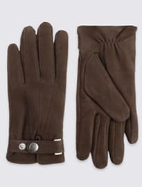 M&s Collection Leather Press Stud Gloves With Thinsulate