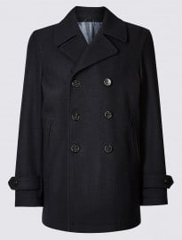 M&s Collection Wool Blend Peacoat