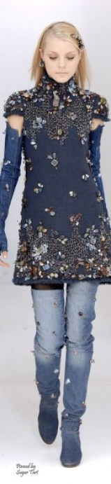 Chanel ~ Couture Embellished Blue Denim Tunic + Jeans