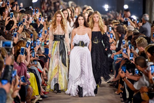 Bella Hadid, Stella Maxwell, Taylor Hill and models on the catwalk