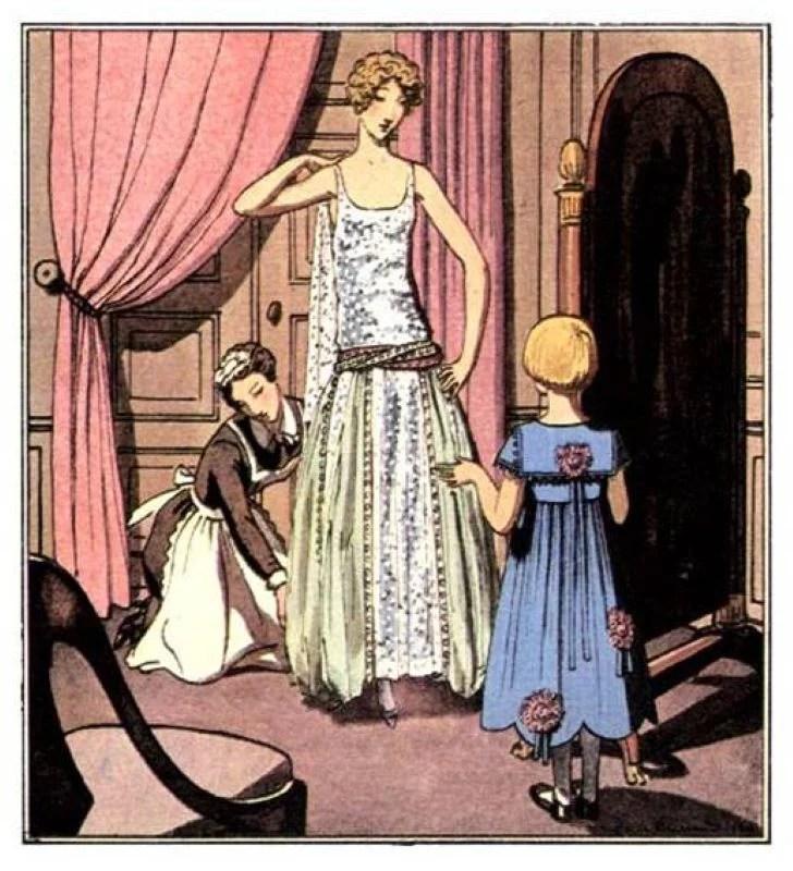 Ilustração de um vestido de Jeanne Lanvin dos anos 20