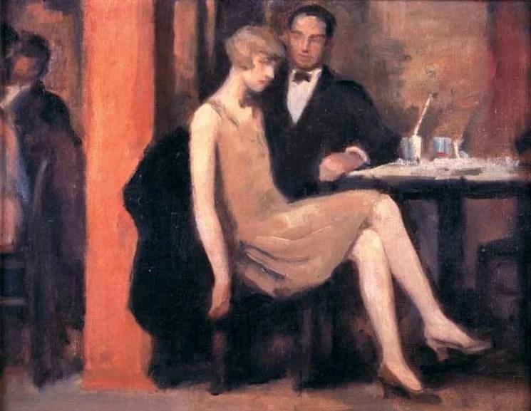 Pintura dos anos 20 com um casal