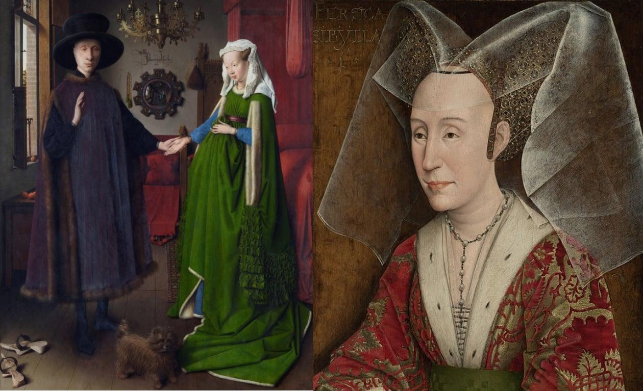 Imagem da pintura Casal Arnolfini vestidos com traje gótico, ele todo de negro e a mulher grávida com um vestido longo verde, e um retrato de Maria de Borgonha com um chapéu de cones e véu transparente
