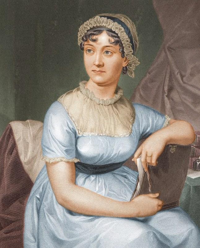 Versão colorida de um desenho de Jane Austen, de 1873.