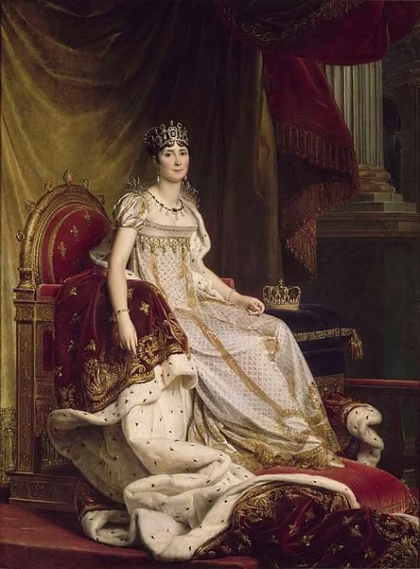 A Imperatriz Joséphine na sua coroação com a moda império, entre 1807-1808.