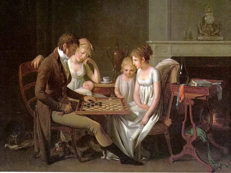 Retrato de uma família a jogar damas, por volta de 1803, com a mães e as meninas a usar a moda império.