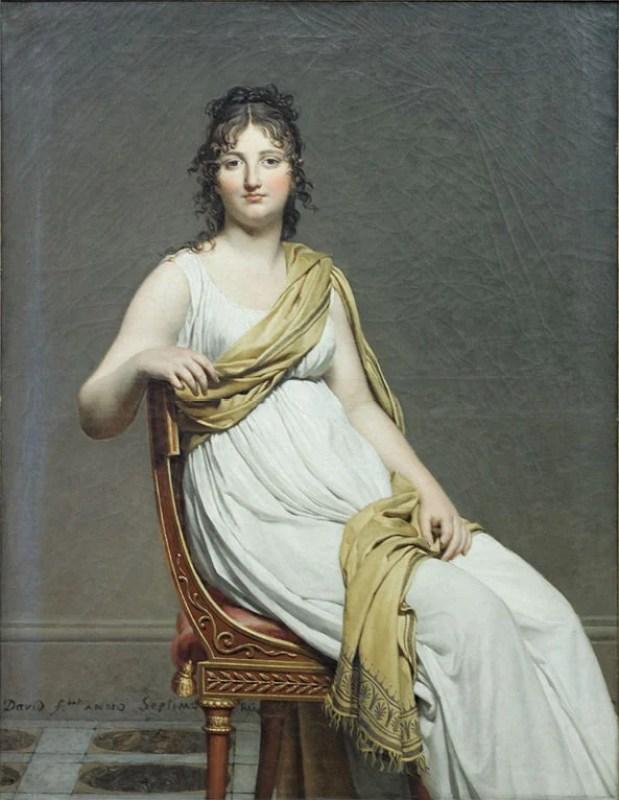 Retrato da Madame de Verninac com a moda império, de 1799.