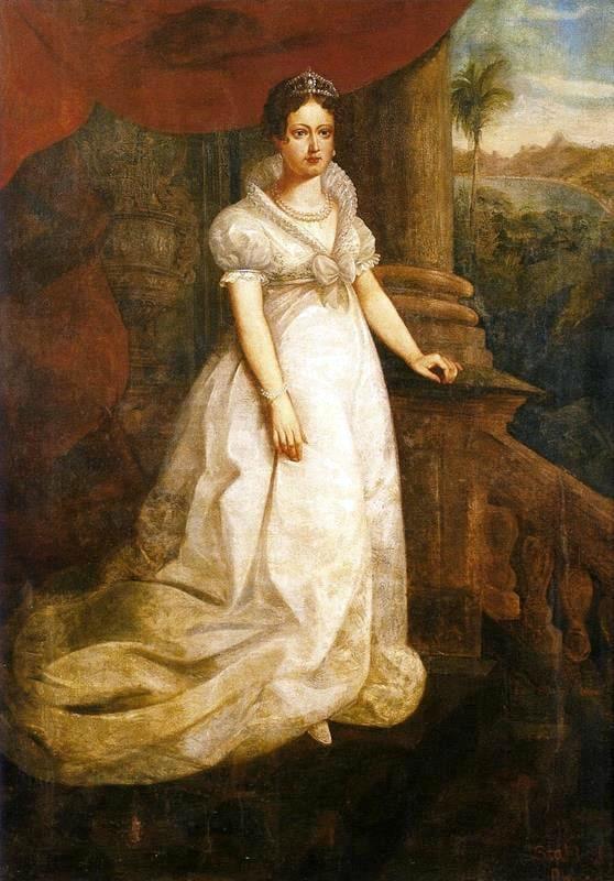 Retrato de Dona Leopoldina de Habsburgo com a moda império.