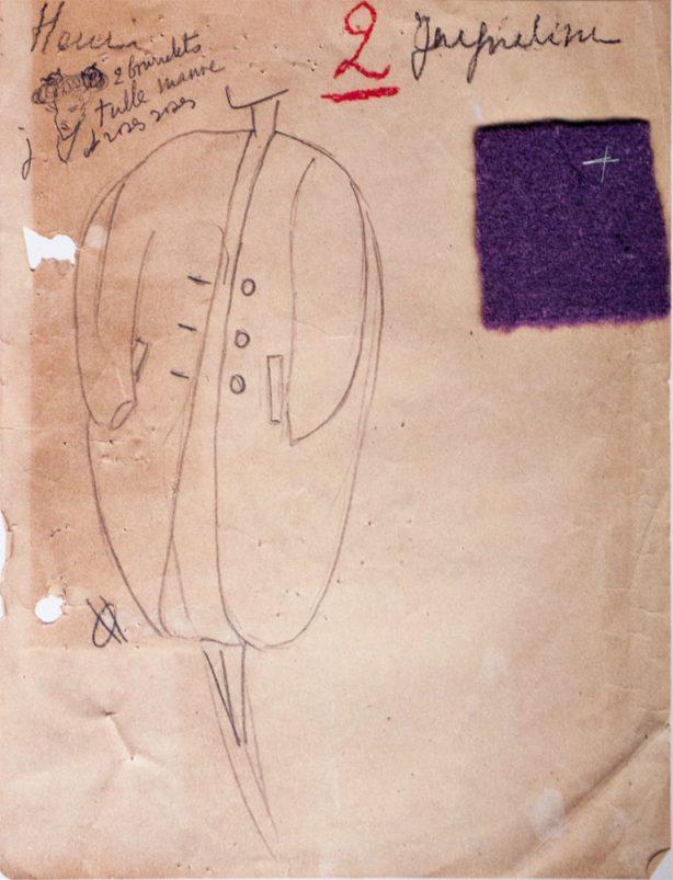 Croquis do Atelier de Balenciaga, Coleção Verão 1947, Pase Nª 2.
