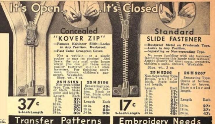 Propaganda antiga de zíper