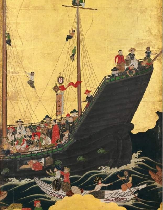 Parte de um biombo japonês ilustrando a chegada do navio português no Japão, século XVII.