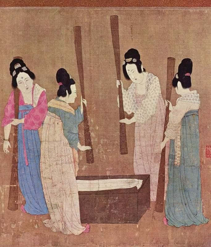 Senhoras da corte preparando a seda, entre 1100 e 1133.