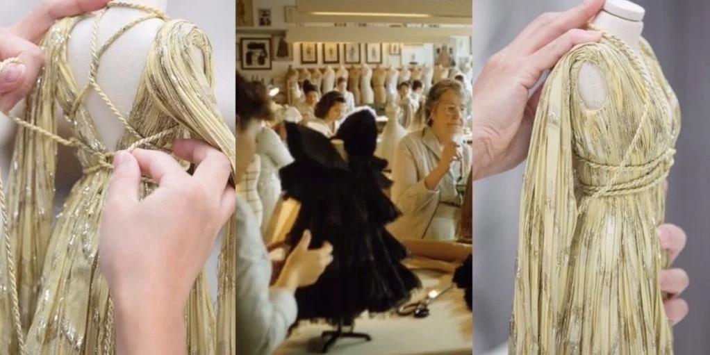 Fragmento do vídeo da Dior ´Le Mythe Dior` com mulheres a trabalharem em manequins miniatura