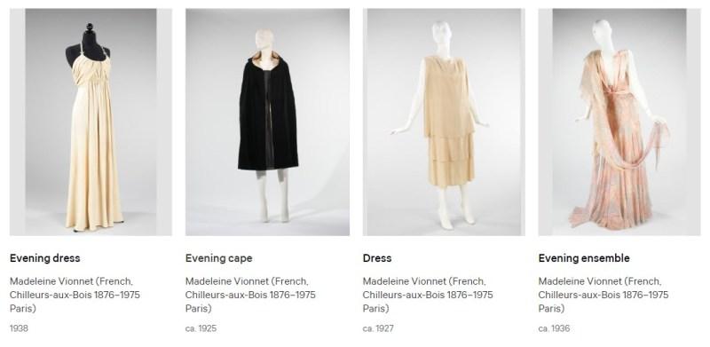 Modelos de roupa de Madeleine Vionnet das décadas de 20 e 30.