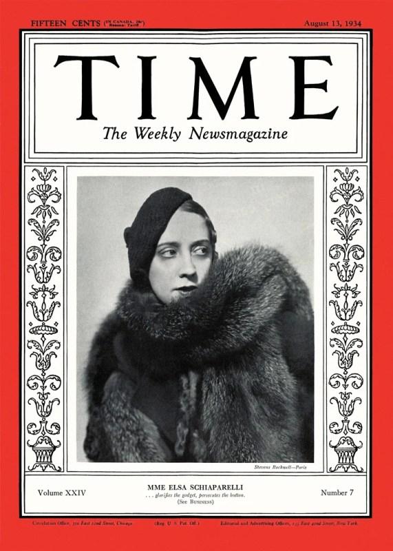 Elsa Schiaparelli na capa da Time de 1934.