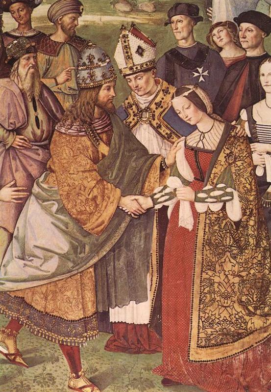 Aeneas Piccolomini introduz Eleonor de Portugal a Frederick III, com um vestido de noiva vermelho.