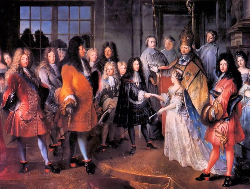 Casamento de Luis da França, duque de Bourgogne, com a noiva em um vestido branco.