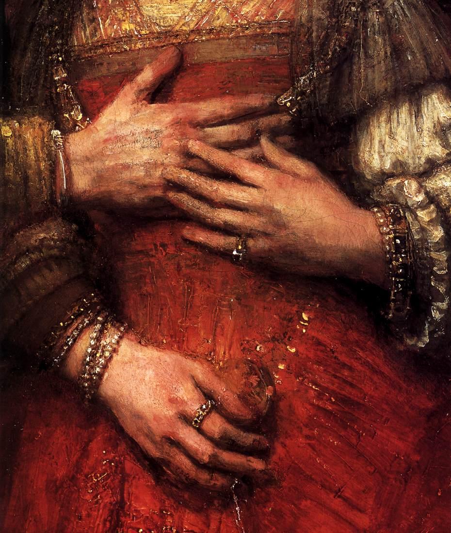 Detalhe das mãos do quadro ´A noiva judia`, com um vestido de noiva vermelho.