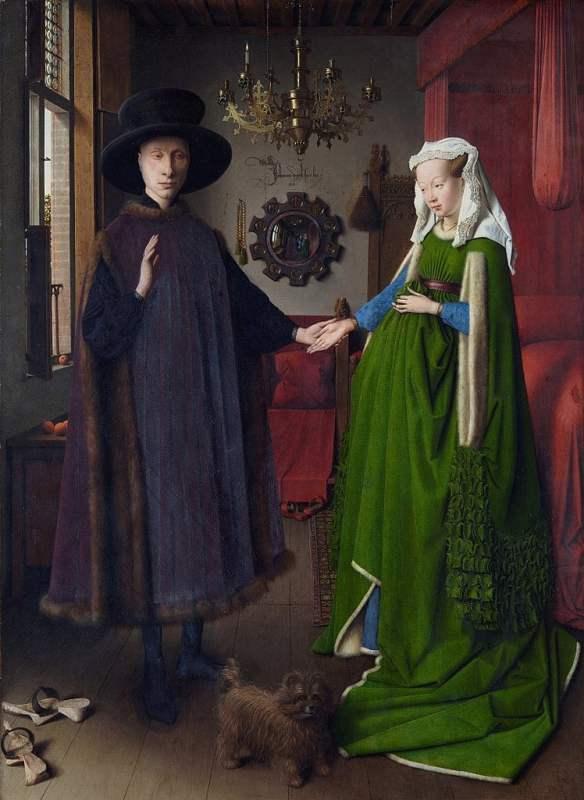 Retrato do casal Arnolfini, com um vestido de noiva verde.