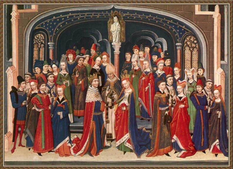 Casamento na época dos Tudors, com um vestido de noiva vermelho.