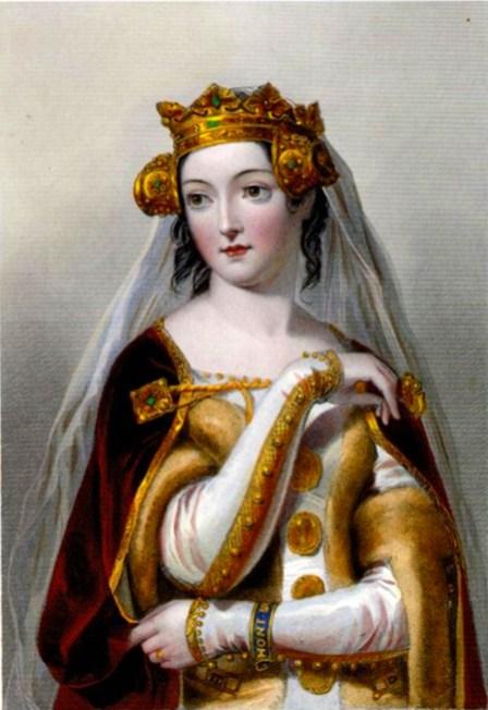 Gravura de Eleanor of Aquitaine com um vestido de novia branco publicada em 1851.