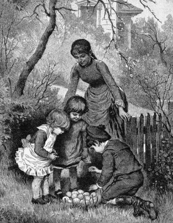 """Ilustração de uma """"caça ao ovo de Páscoa"""", de 1889."""