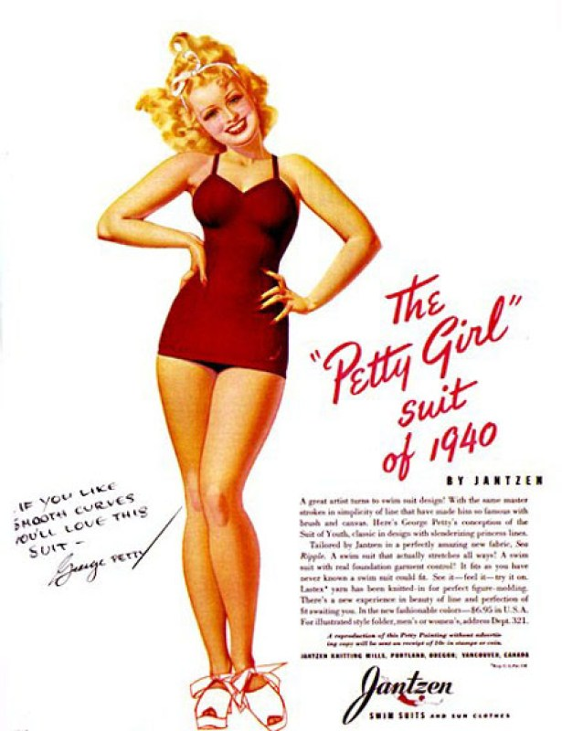 """O """"Petty Girl Suit"""", ilustraçao pon-up de George Petty de 1940."""