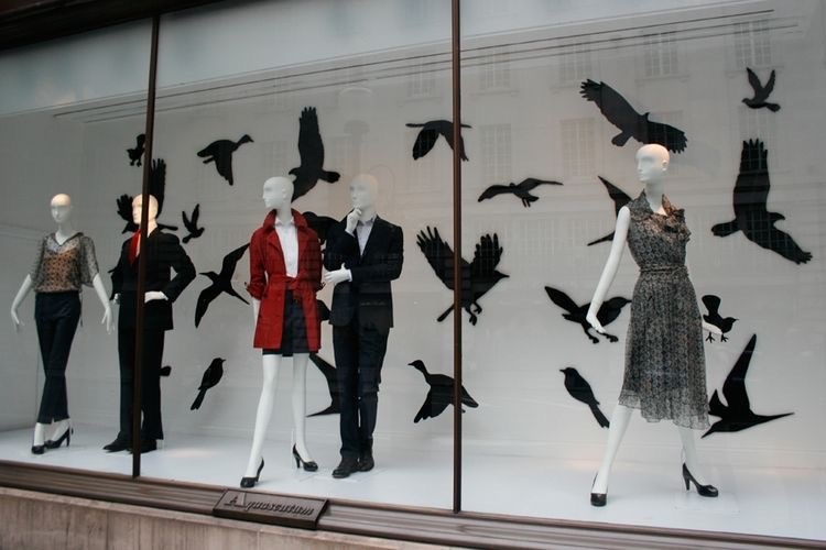 Vitrine com corvos em adesivo para decoração de Halloween