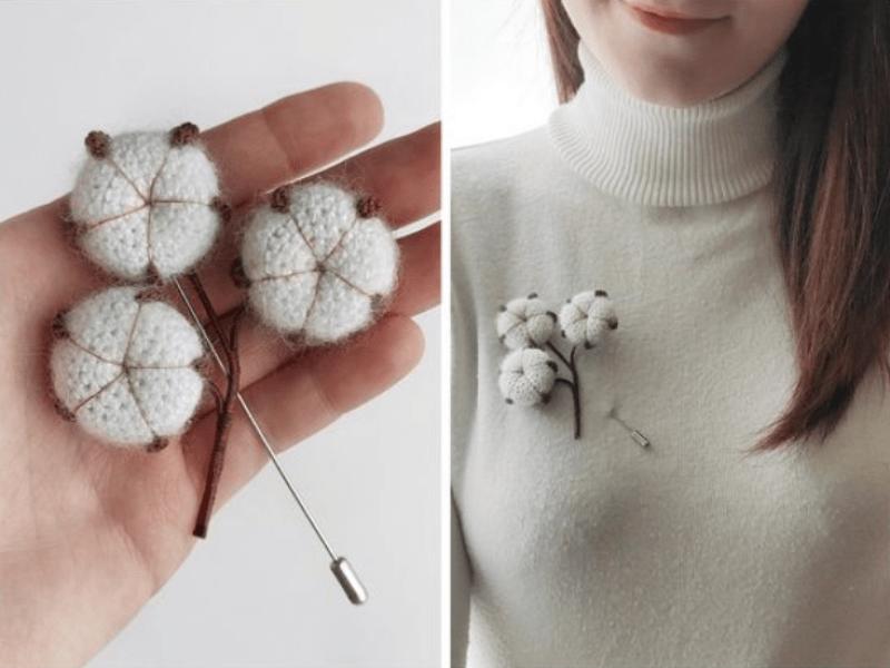 broche de crochê formato orgânico