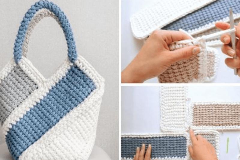 Bolsa de crochê com blocos de cor