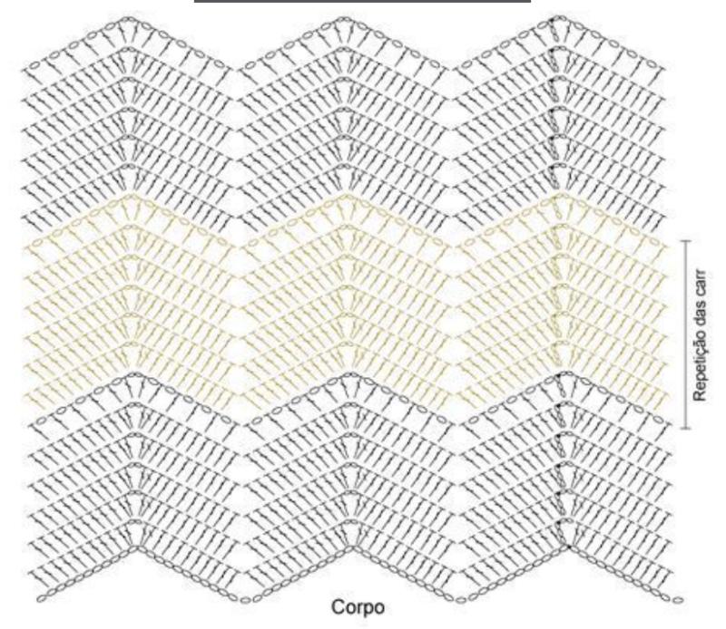 gráfico para crochê zig-zag