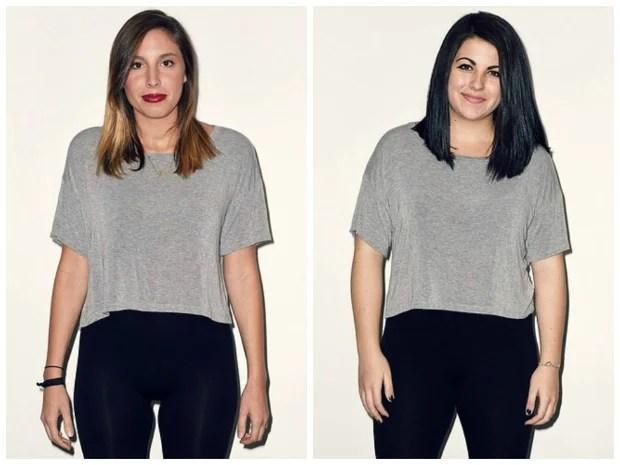 2 modelos de diferentes biotipos com o mesmo tamanho de blusa - Roupas de tamanho único