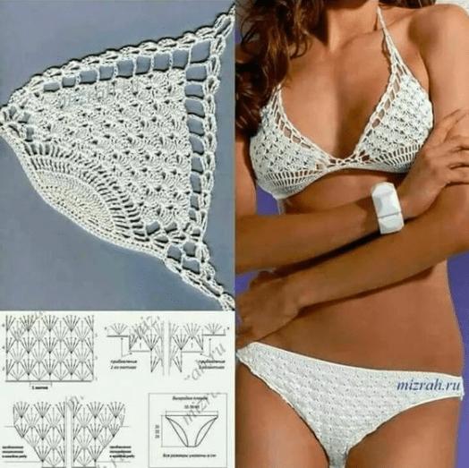 Gráfico biquínis de crochê triângulo e calcinha reta