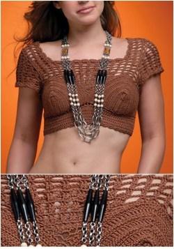Cropped Em Crochê Com Gráficos e Receita 1