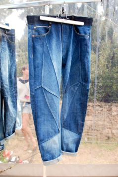 Patchwork jeans calça