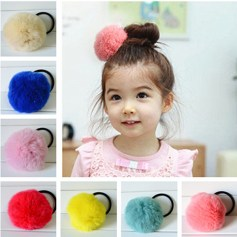 New-Geniune-Rabbit-Fur-Pom-Ball-Cute-Round-Girl-s-Lovely-Hair-Ties-Ropes-Kids-Accessories