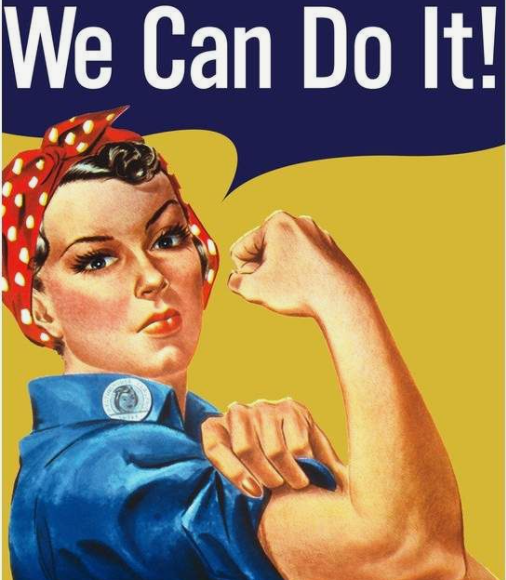 """pintura vintage de mulher em fundo amarelo com dizeres em inglês """"we can do it"""""""
