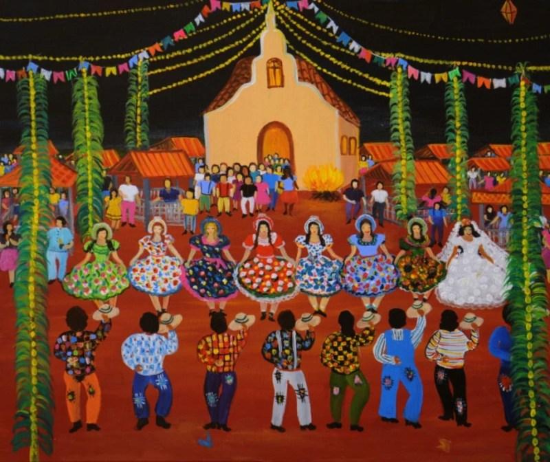 Festa Junina em Art Naif de Lourdes de Deus.