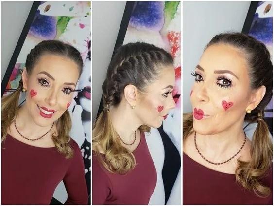 Maquiagem junina: corações desenhados no rosto e boca de boneca