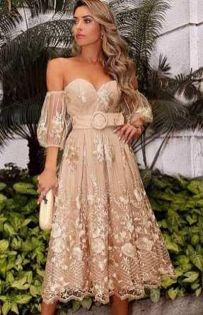 vestido midi de festa renda