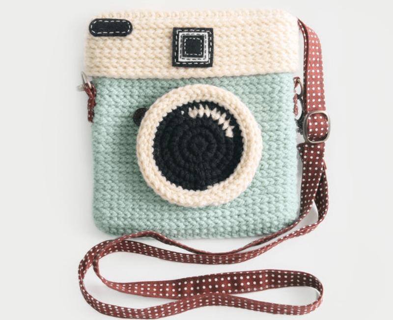 Bolsa de crochê de máquina fotográfica
