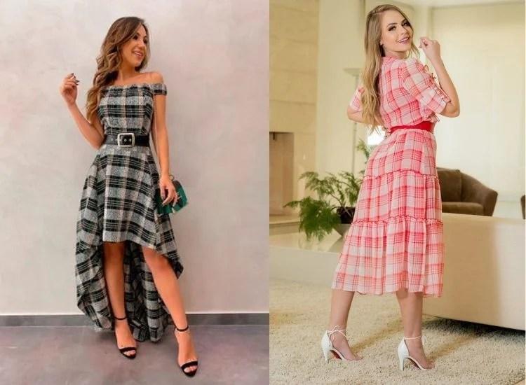 vestido xadrez longo