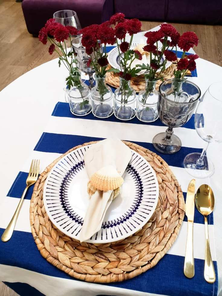 jantar romantico mesa posta navy