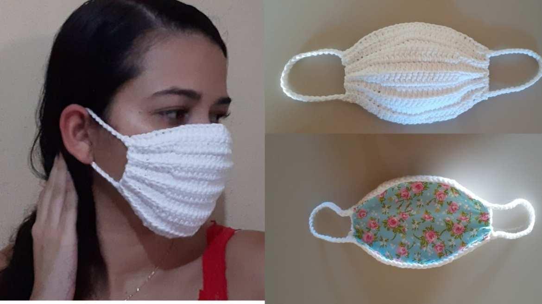 máscara de crochê adulto forro