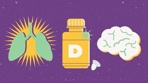 Ilustração com vitamina d, cérebro e pulmão