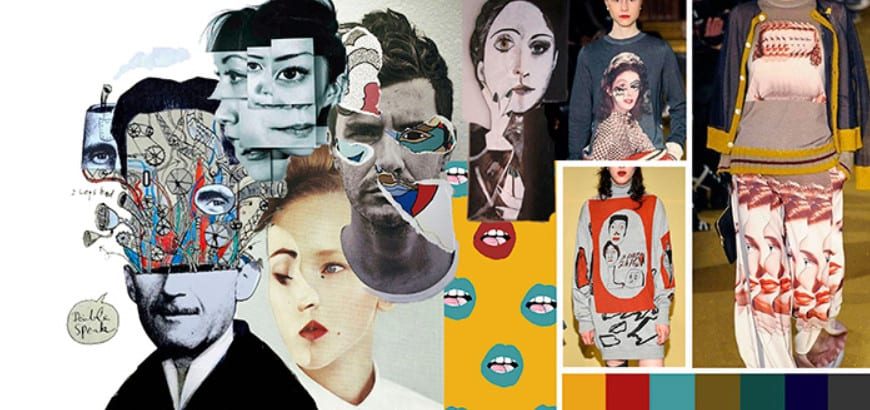 Ilustração com montagem usando diversos rostos - moda e identidade - Foto com pegada retrofuturista de homem com mala e mapa
