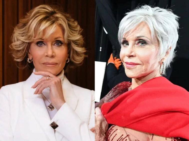 Famosas com antes e depois de adotar os cabelos brancos - Jene Fonda