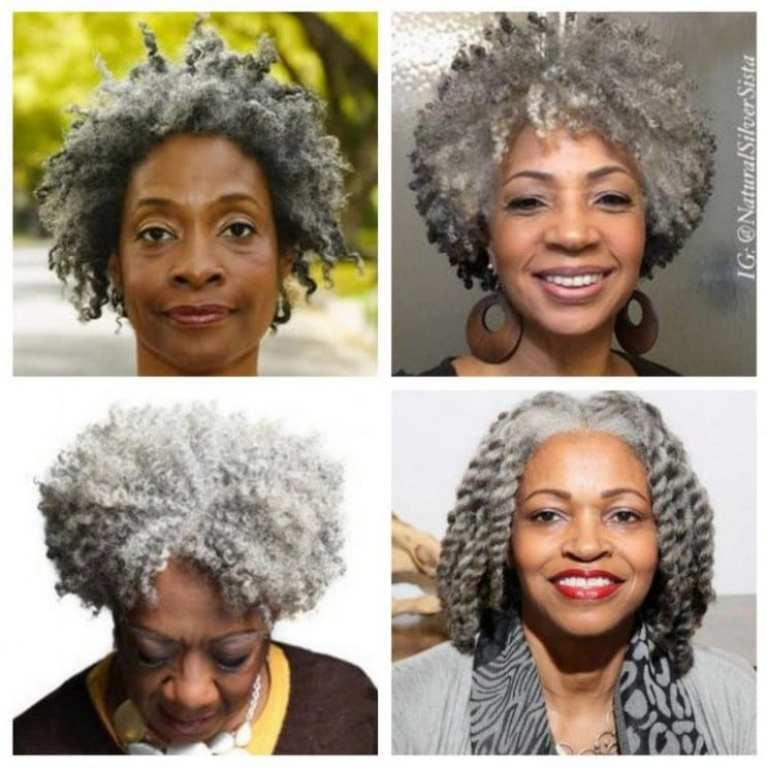 Negras com cabelos brancos - fotos de cortes curtos e médios