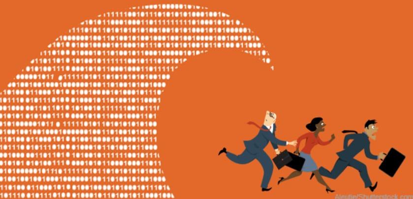 Ilustração de executivos fugindo de uma onda de dados - O que são tendências